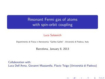Resonant Fermi gas of atoms with spin-orbit ... - infm udr padova