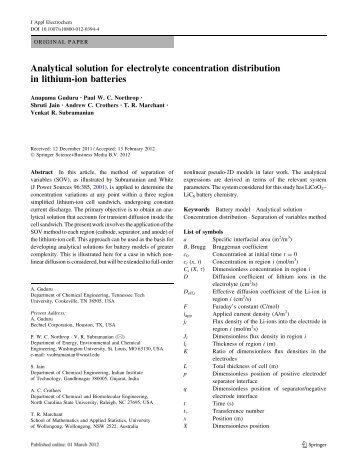 Analytical solution for electrolyte concentration distribution in lithium ...