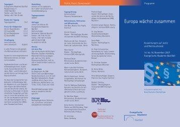 Europa wächst zusammen - Evangelische Akademie Bad Boll