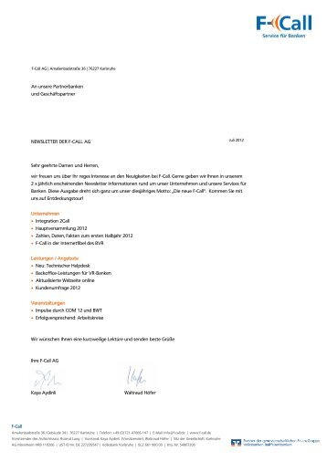 F-Call An unsere Partnerbanken und Geschäftspartner ... - F-Call AG