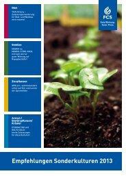 Empfehlungen Sonderkulturen 2013 - Feinchemie Schwebda GmbH