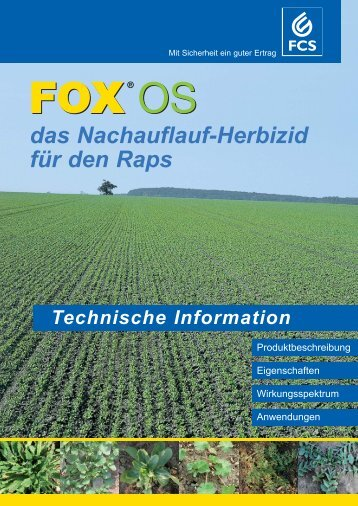 Wirkungsspektrum FOX OS Solo und in Spritzfolge - Feinchemie ...