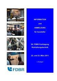 INFORMATION und ANMELDUNG für Aussteller 26. FDBR ...