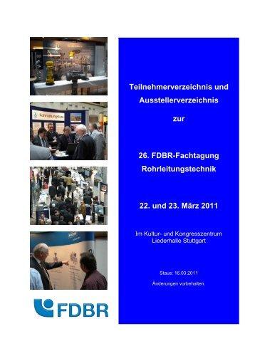Teilnehmerverzeichnis und Ausstellerverzeichnis zur 26. FDBR ...