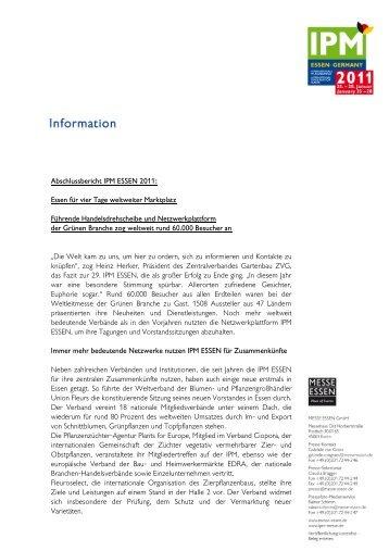 IPM Abschlussbericht der Messe Essen - FDF