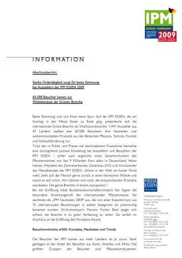Abschlussbericht IPM ESSEN 2009 auf Infobogen - FDF