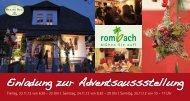 Einladung zur Adventsaussstellung - Blumen Rombach