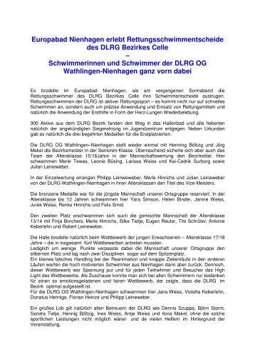 Europabad Nienhagen erlebt Rettungsschwimmentscheide - DLRG ...