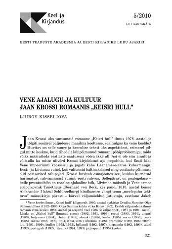 vene ajalugu ja kultuur jaan krossi romaanis - Keel ja Kirjandus