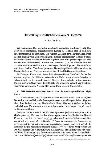 Darstellungen endlichdimensionaler Algebren - International ...
