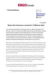 Pressemitteilung Bester Zahn-Versicherer verschenkt ... - ERGO Direkt