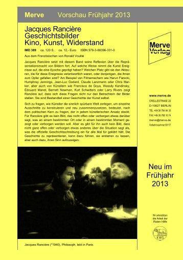 Frühjahrsvorschau - Merve Verlag Berlin