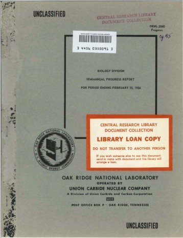 unclassified - Oak Ridge National Laboratory