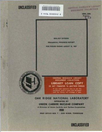 unclassified - Oak Ridge National Laboratory