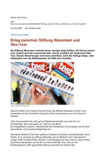 Krieg zwischen Stiftung Warentest und Öko-Test - FEB