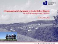Demographische Entwicklung in den ländlichen Räumen - Iserlohn