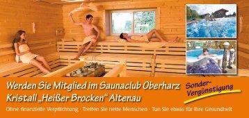 "Flyer Saunaclub Oberharz Kristall - Kristall ""Heißer Brocken"""
