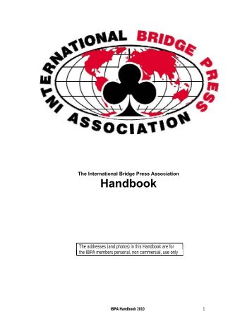 Handbook - International Bridge Press Association