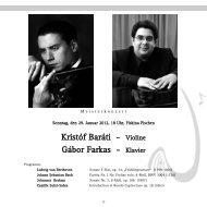 Kristóf Baráti - Violine Gábor Farkas - Klavier - Freunde der Musik