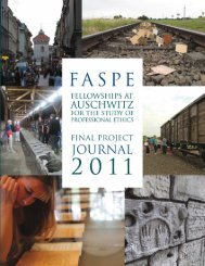 2011 FASPE Final Project Journal - Museum of Jewish Heritage