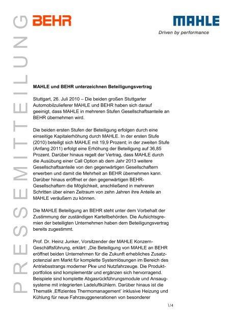 Pressemitteilung Mahle + Behr