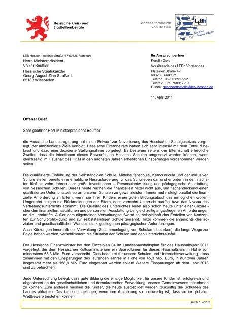 OB an Ministerpräsident Bouffier - Landeselternbeirat von Hessen