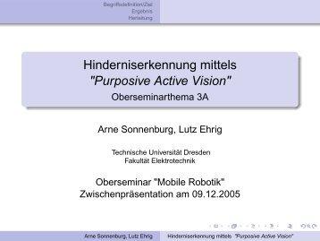 "Hinderniserkennung mittels ""Purposive Active Vision"" - Fakultät ..."