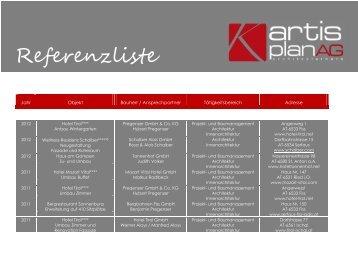 Referenzliste - Architekturbüro Artis Plan AG