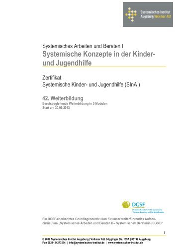 Curriculum 2013 hier zum Download - Systemisches Institut ...
