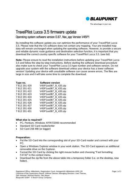 TravelPilot Lucca 3 5 firmware update - Blaupunkt