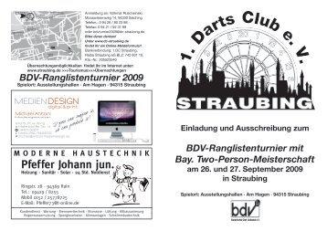 Ausschreibung BDV Turnier 2009 - 1. Darts Club Straubing eV