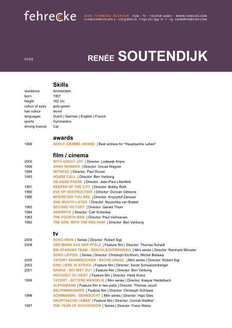 RENÉE SOUTENDIJK - Fehrecke