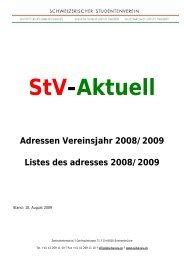 StV-Aktuell Adressen Vereinsjahr 2008/2009 Listes des adresses ...