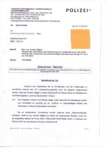Abschlussbericht an die Staatsanwaltschaft