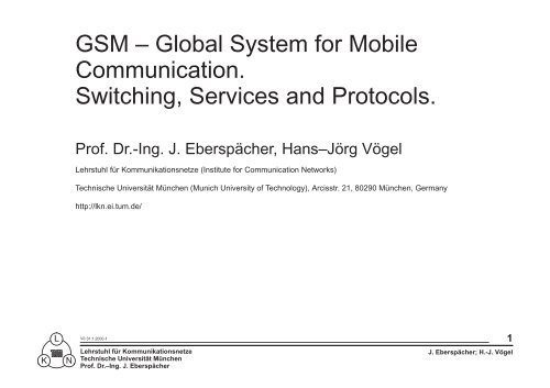 Switching Services and Protocols GSM