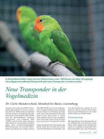 Neue Transponder in der Vogelmedizin