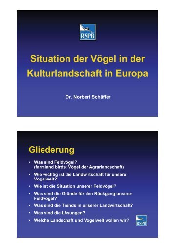 Situation der Vögel in der Kulturlandschaft in Europa