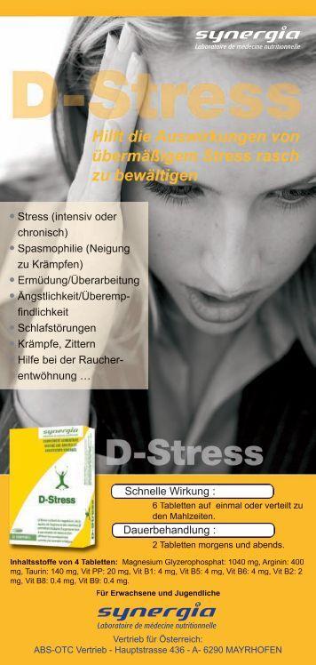 D-Stress Flyer - RIESER - MALZER ABS-OTC Vertrieb RMT GmbH