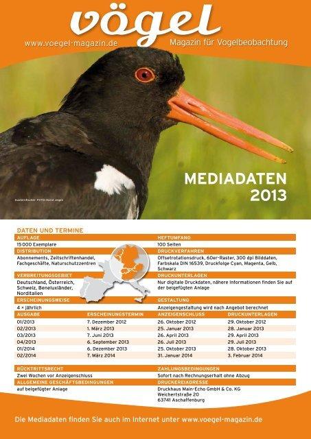 meDiaDaten 2013 - Vögel - Magazin für Vogelbeobachtung