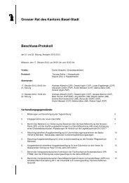 Beschlussprotokoll - Grosser Rat - Basel-Stadt