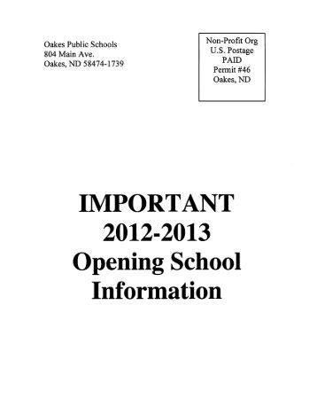 Oak , ND 58474-1739 . - Oakes Public School