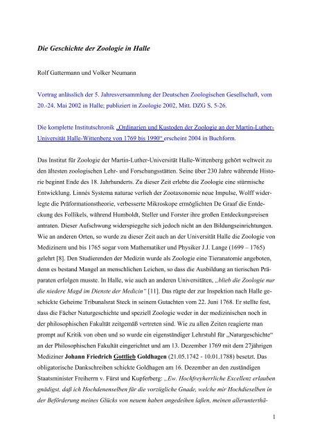 Die Geschichte der Zoologie in Halle - Fachbereich Biologie der Uni ...