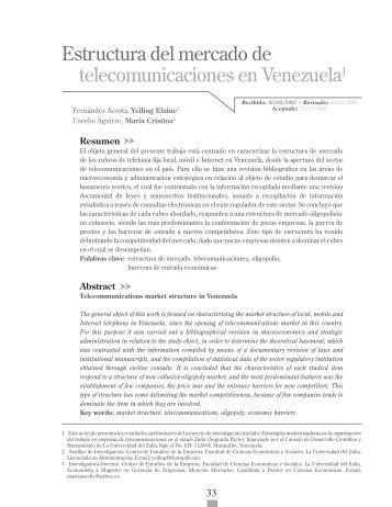 Estructura del mercado de telecomunicaciones en Venezuela1