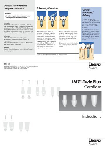 IMZ®-TwinPlus CeraBase Instructions - DENTSPLY Friadent