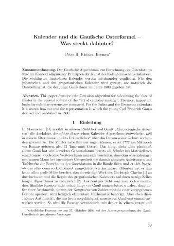 Kalender und die Gaußsche Osterformel — - Institut für Theoretische ...