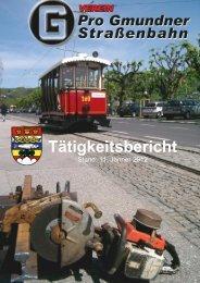 Tätigkeitsbericht Verein Pro Gmundner Straßenbahn - Stern & Hafferl