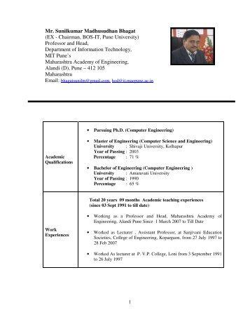 Mr. Sunilkumar Madhusudhan Bhagat (EX - Chairman ... - MAE Pune