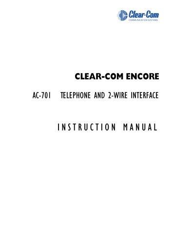 Clear-Com PIC-4704 MA-704 AX-704 Manual - Videoengineer.net