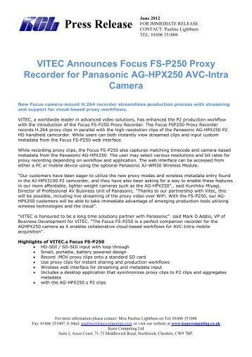 Press Release VITEC Announces Focus FS-P250 Proxy Recorder ...