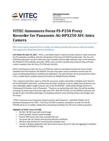 VITEC Announces Focus FS-P250 Proxy Recorder for Panasonic ...